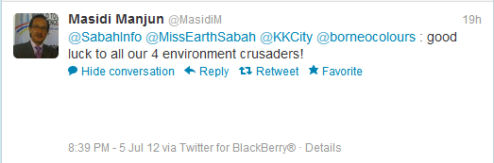 Datuk Masidi Manjun Twitter message 494x163 Miss Earth Malaysia 2012: Journey of our Environment Crusaders