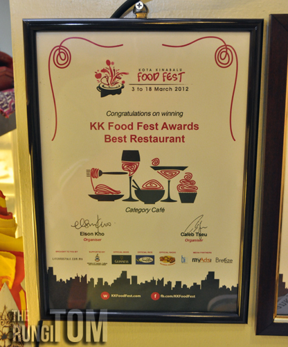KKFF 2012 award for best restaurant in Cafe category Yu Cafe, Luyang