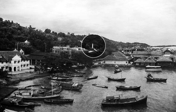 Atkinson Clock Tower (in circle) in the old days of Jesselton