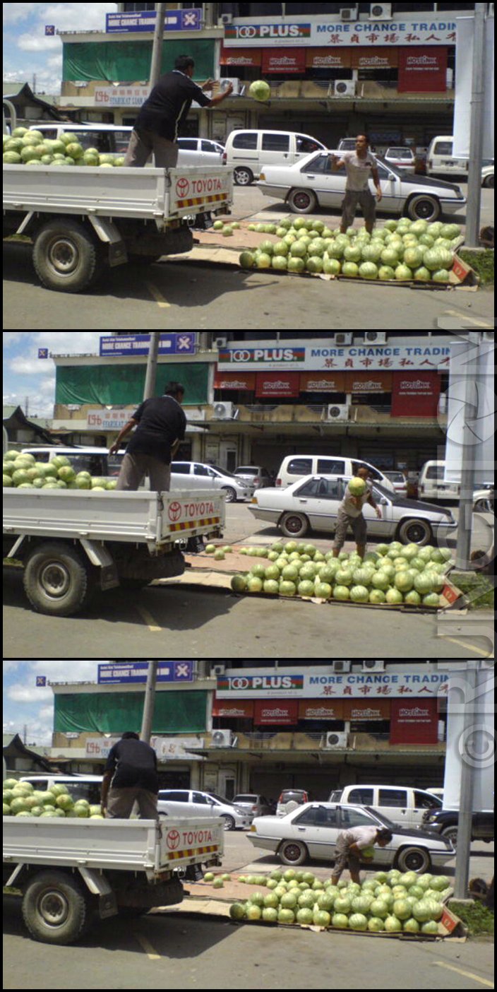 Throw the melons Honeydew and the weekend life in Kota Marudu town
