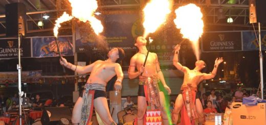 Breath taking fire eating feats by performers