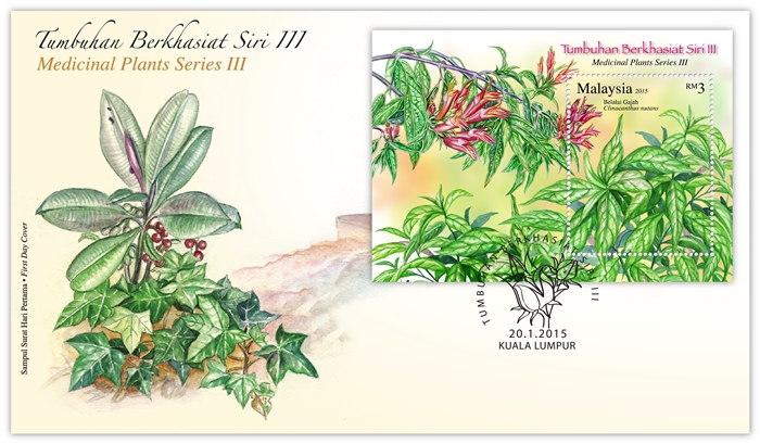 Medicinal Plant Series III first day cover with miniature sheet and cancellation mark
