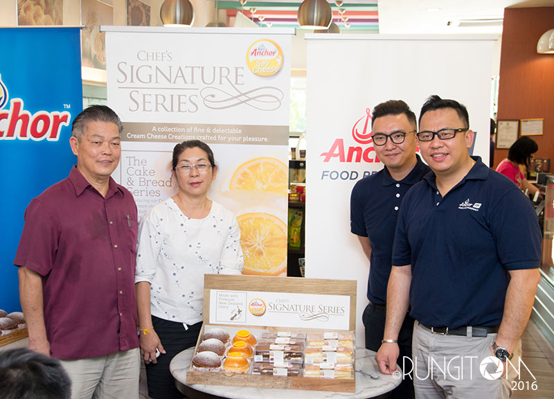 From Left: Chef Foo (owner & Chief Baker of Port View Euro Bakery) and wife, Desmond Chin and Chua Chern Shian of Fonterra Brands
